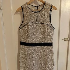 Banana Republic white and navy lace dress